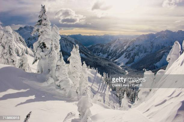 panoramic view of snow covered mountains - vancouver canada stock pictures, royalty-free photos & images