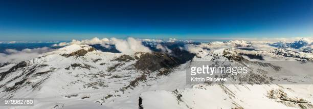 Panoramic view of snow-capped mountain range on sunny day, Switzerland
