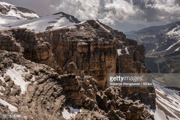 panoramic view of snowcapped mountains against sky, canazei, italy - カナツェイ ストックフォトと画像