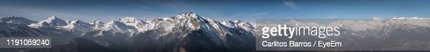 panoramic view of snowcapped mountains against sky - sion switzerland stock pictures, royalty-free photos & images