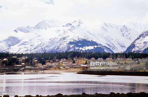 Panoramic view of snowcapped mountains, Haines, Alaska, USA