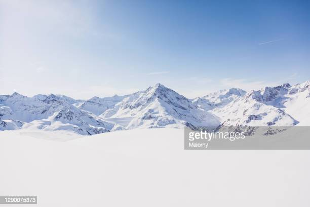 panoramic view of snowcapped mountains. winter in kuethai, tirol, austria. - european alps stock pictures, royalty-free photos & images