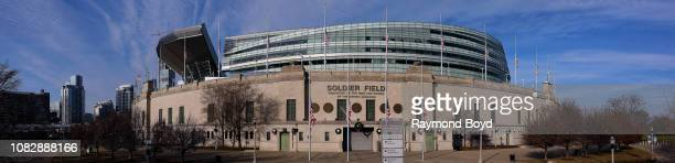 Panoramic view of Soldier Field home of the Chicago Bears football team in Chicago Illinois on December 11 2018