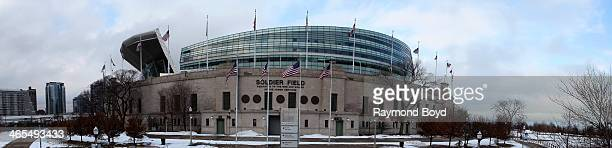 Panoramic view of Soldier Field home of the Chicago Bears football team in Chicago Illinois on JANUARY 20 2014