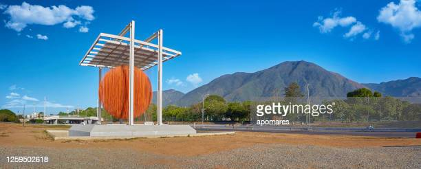 panoramic view of soto sphere with avila mountain at the background. la esfera de soto - caracas stock pictures, royalty-free photos & images