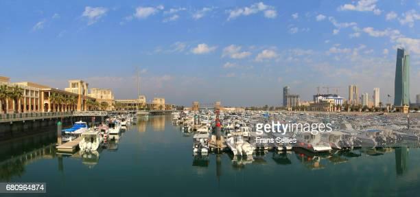 Panoramic view of souq sharq shopping mall and marina in Kuwait city, Kuwait