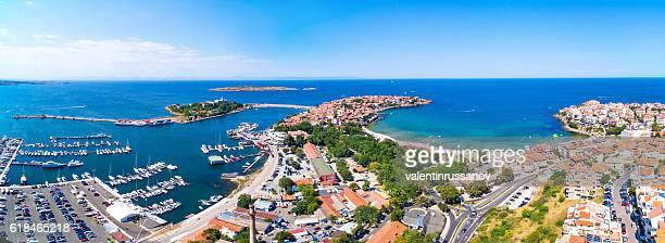 panoramic view of sozopol, bulgaria - bulgaria stock pictures, royalty-free photos & images