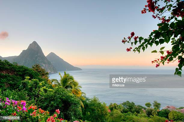 Panoramic view of St Lucias Twin Pitons at Sunrise