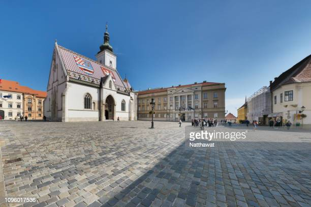panoramic view of st. mark's church, zagreb, croatia - zagreb stock-fotos und bilder