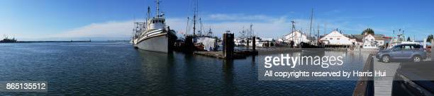 panoramic view of steveston harbour - richmond british columbia stock photos and pictures