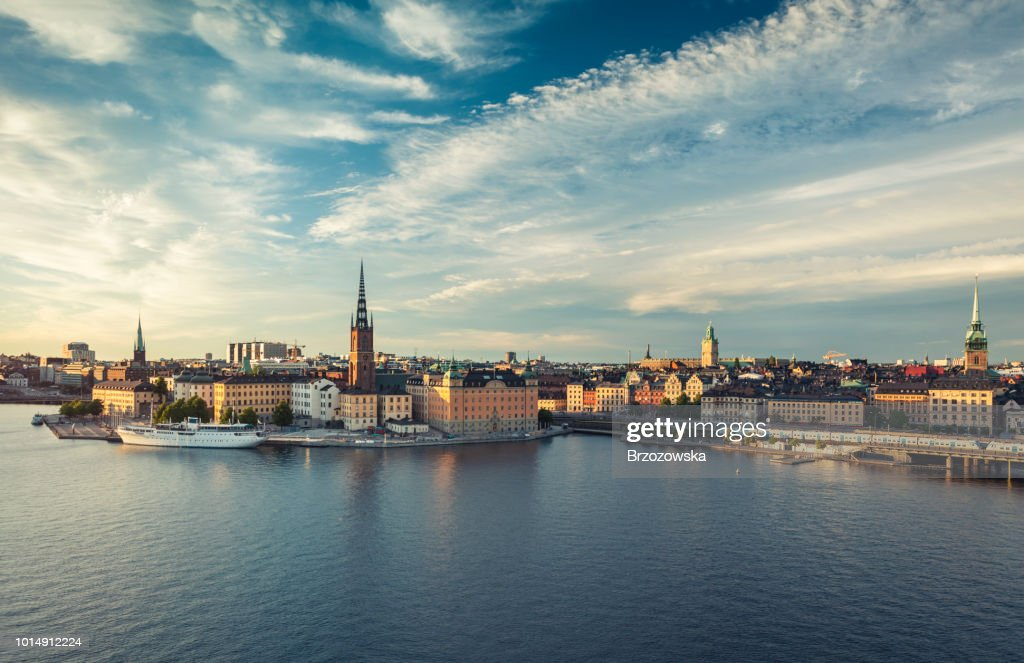 Panoramic view of Stockholm old town, Sweden. : Stock Photo