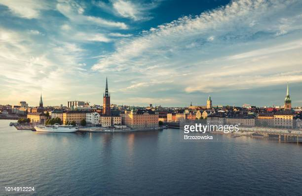 panoramic view of stockholm old town, sweden. - panoramic stock pictures, royalty-free photos & images