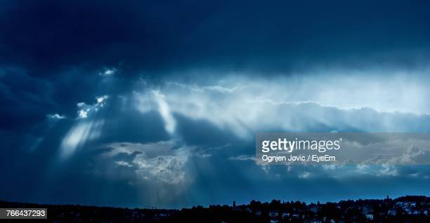 Panoramic View Of Storm Clouds Over Blue Sky