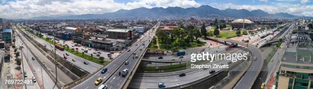 Panoramic view of streets in city on sunny day, Bogota, Columbia