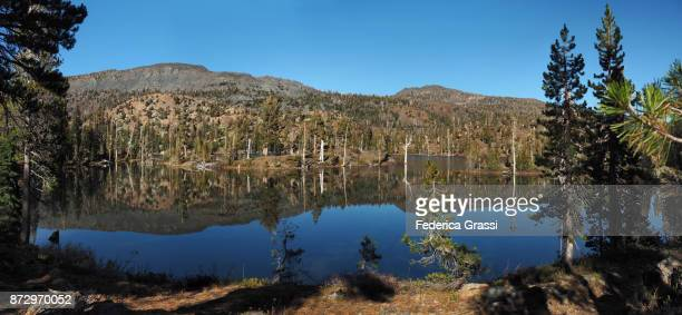 panoramic view of susie lake, pacific crest trail, california - pacific crest trail stock pictures, royalty-free photos & images