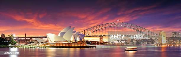 panoramic view of sydney opera house - teatro de ópera - fotografias e filmes do acervo
