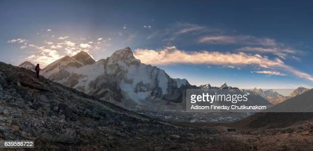 Panoramic view of Taboche, Everest, Lhotse,Nepal