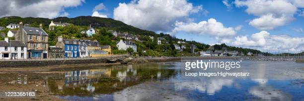 panoramic view of tarbert harbour on the west coast of scotland - strathclyde stock pictures, royalty-free photos & images