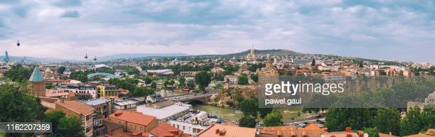 panoramic view of tbilisi cityscape in georgia - tbilisi stock pictures, royalty-free photos & images