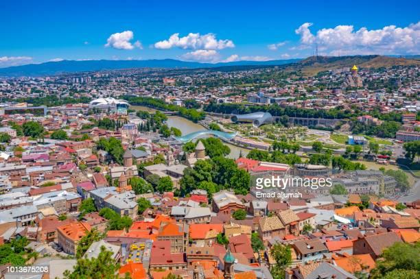 panoramic view of tbilisi, georgia - トビリシ ストックフォトと画像