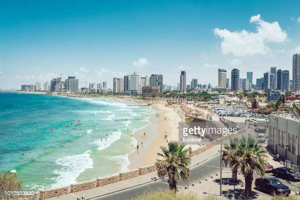 panoramic view of tel aviv and mediterranean sea - tel aviv foto e immagini stock
