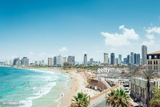 panoramic view of tel aviv and mediterranean sea - tel aviv stock pictures, royalty-free photos & images