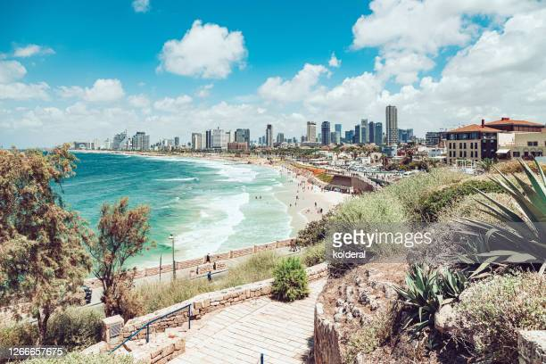 panoramic view of tel aviv from historic district of jaffa - tel aviv stock pictures, royalty-free photos & images