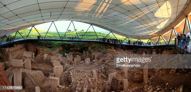 panoramic view of temple found in gobeklitepe at sanliurfa province,turkey. - emreturanphoto stock pictures, royalty-free photos & images