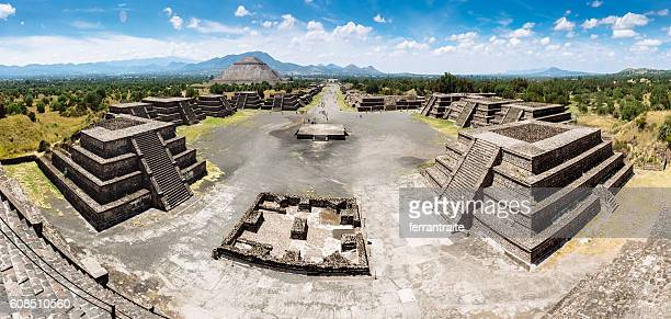 Panoramic View of Teotihuacan Pyramids Mexico