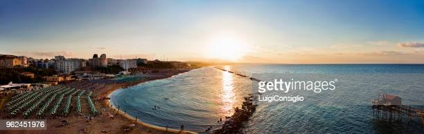 panoramic view of termoli beach, italy - butlins stock pictures, royalty-free photos & images