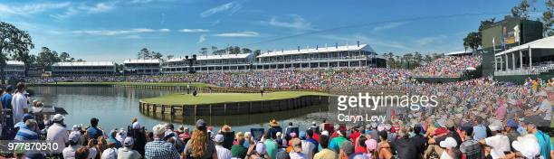A panoramic view of the 17th hole during the first round of THE PLAYERS Championship on THE PLAYERS Stadium Course at TPC Sawgrass on May 11 2018 in...