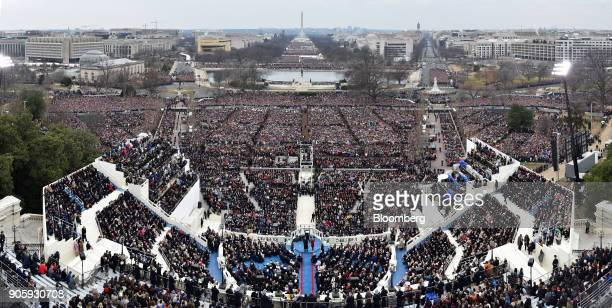 A panoramic view of the 58th presidential inauguration in Washington DC US on Friday Jan 20 2017 The one year anniversary of US President Donald...