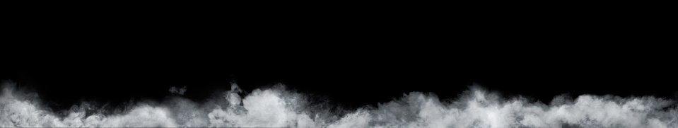 Panoramic view of the abstract fog or smoke move on black background. White cloudiness, mist or smog background. 1069913218