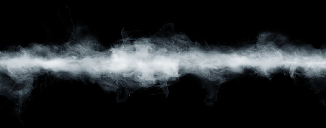 Panoramic view of the abstract fog or smoke move on black background. 1141230844