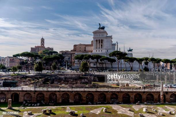 A panoramic view of the 'Altar of the Fatherland'' from the socalled Markets of Trajan on November 28 2017 in Rome Italy To celebrate the 1900th...