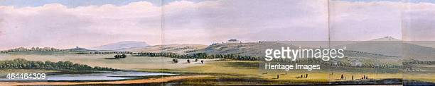 Panoramic view of the area around Regent's Park London 1831 showing Little Primrose Hill and part of Primrose Hill in Hampstead with figures playing...