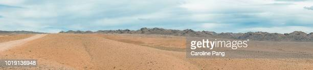 Panoramic view of the arid landscape of the Gobi desert in Mongolia.