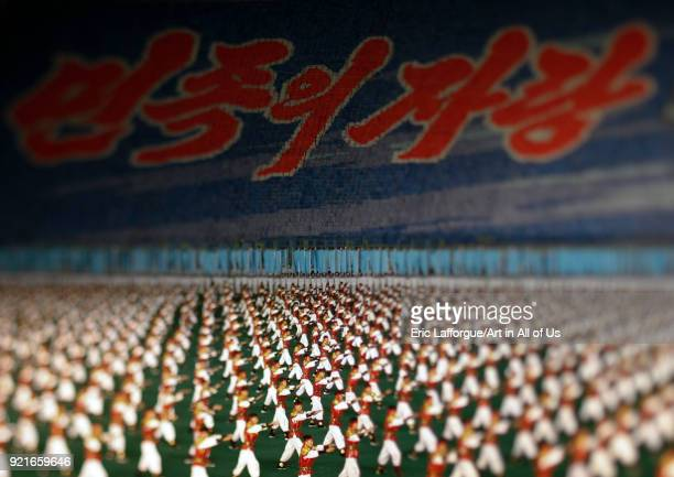 Panoramic view of the Arirang mass games with North Korean performers in may day stadium Pyongan Province Pyongyang North Korea on September 9 2008...