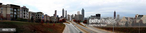 Panoramic view of the Atlanta skyline as photographed from the Jackson Street bridge in Atlanta Georgia on NOVEMBER 23 2013