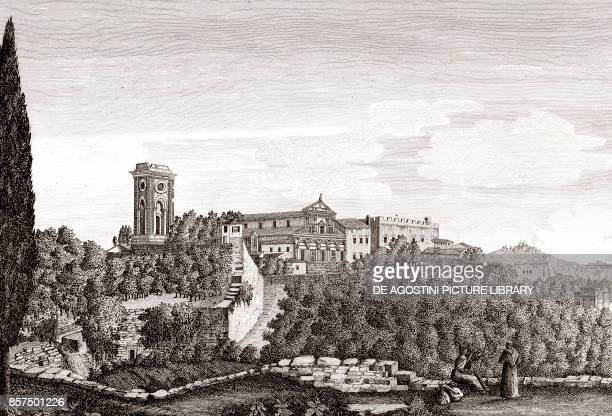 Panoramic view of the Basilica of San Miniato al Monte in Florence, Tuscany, Italy, copper engraving, 28.6x19.2 cm, from Corografia fisica, storica e...
