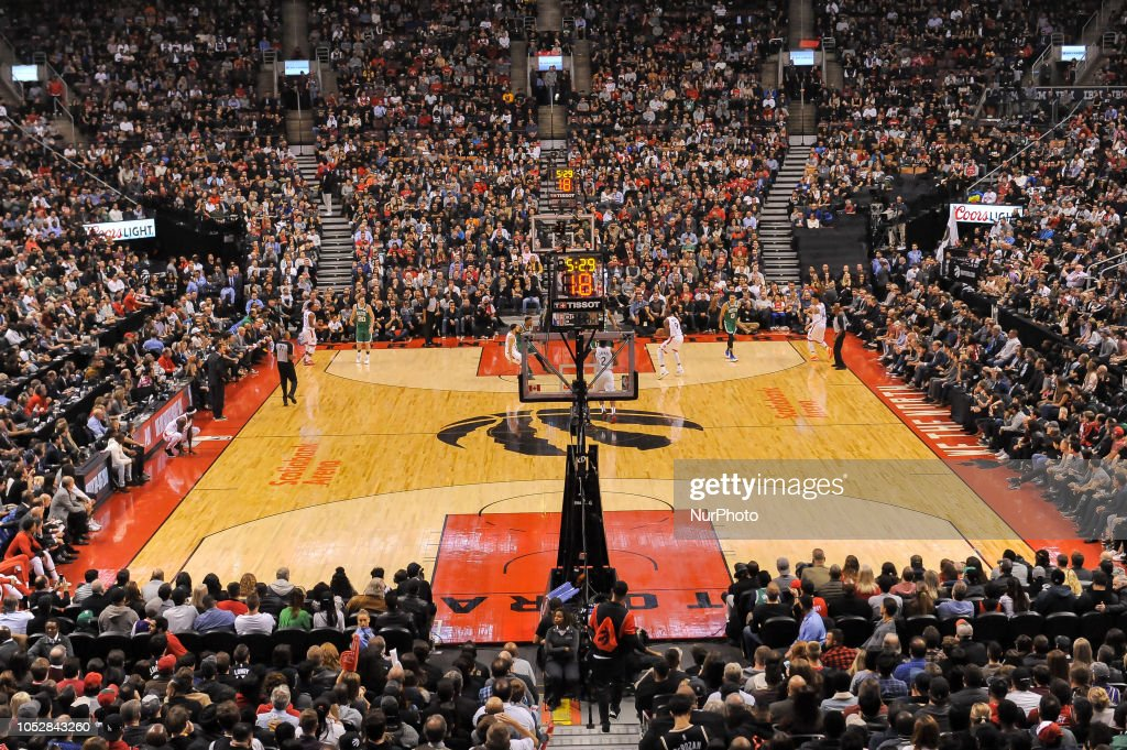 Panoramic View Of The Basketball Court During The Toronto Raptors Vs