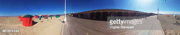 360 panoramic view of the beach of Deauville.