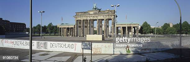 A panoramic view of the Berlin Wall towards East Berlin at Brandenburg Gate on May 02 1987 in Berlin Germany Germany will celebrate the 20th...