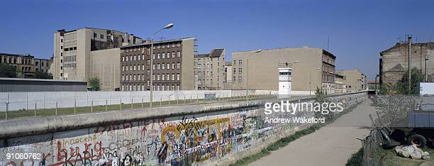 A panoramic view of the Berlin Wall towards East Berlin at Zimmerstrasse in Berlin's district of Kreuzberg on May 02 1987 in Berlin Germany Germany...
