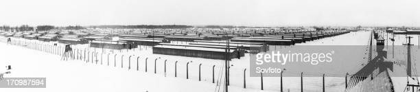 A panoramic view of the birkenau concetration camp at auschwitz poland 1945