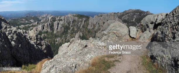 panoramic view of the black hills and custer state park, south dakota - pinnacle rock formation stock-fotos und bilder