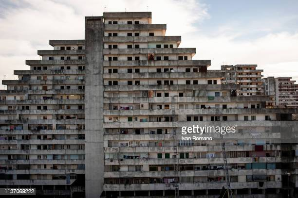 Panoramic view of the Blue Sail building from the Green Sail building on November 10 2016 in Naples Italy The Brutalist apartment blocks known as Le...