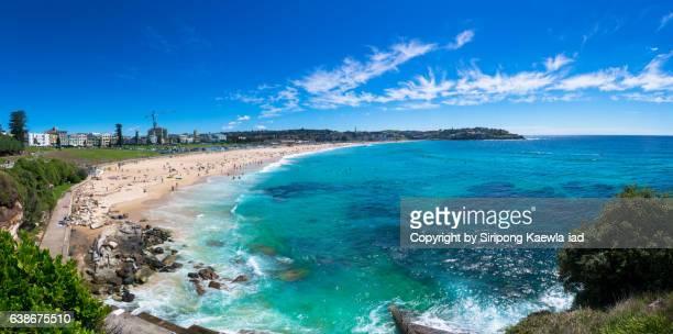 Panoramic view of the Bondi beach in Sydney, Australia.