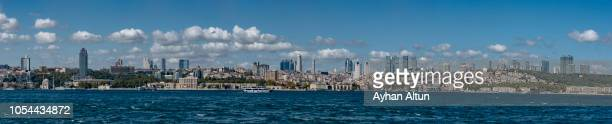 panoramic view of the bosphorus strait in istanbul,turkey - contemporary istanbul foto e immagini stock