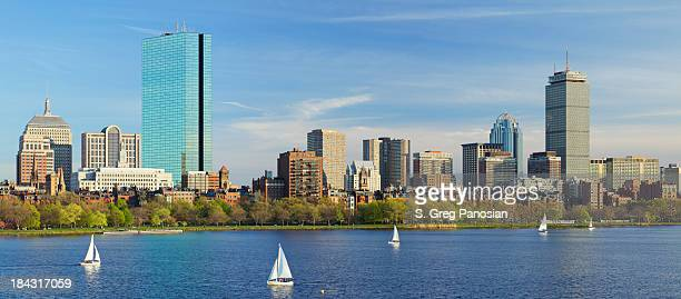 panoramic view of the boston skyline - boston skyline stock pictures, royalty-free photos & images